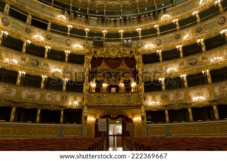 "Venice, Italy June 5, 2014: Interior of La Fenice Theatre. Teatro La Fenice, ""The Phoenix"", is an opera house, one of the most famous and renowned landmarks in the history of Italian theatre"