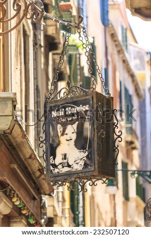VENICE, ITALY - JUNE 06, 2014: Restaurant and bed & breakfast  in Venice, Italy. The tradition advertisement from centuries still today's way to bring customers to the premises. - stock photo