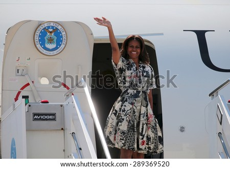 VENICE, ITALY - JUNE 19: The First Lady Michelle Obama leaves from Venice Airport in Venice, Italy 19 June 2015 - stock photo
