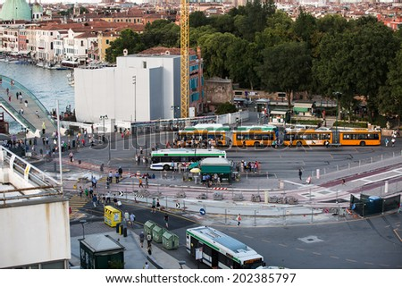 VENICE, ITALY - JUNE 26, 2014: Venetian bus transport hub for transportation of passengers to the mainland.