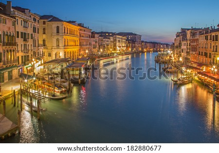 VENICE, ITALY - MARCH 11, 2014: Canal grande in evening dusk from Ponte Rialto