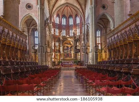 VENICE, ITALY - MARCH 12, 2014: Indoor of church Santa Maria Gloriosa dei Frari.  - stock photo