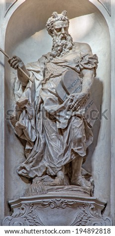 VENICE, ITALY - MARCH 11, 2014: Statue of Moses (1738 - 1755) from church Santa Maria del Rosario (Chiesa dei Gesuati) by Giovani Maria Morlaiter  - stock photo