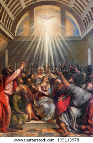 VENICE, ITALY - MARCH 13, 2014: The Descent of the Holy Ghost by Titian (1488 - 1576) in church Santa Maria della Salute.  - stock photo