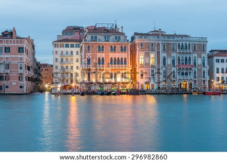 Venice, Italy. May 31, 2015. Evening View of the Grand Canal in Venice. Long exposure HDR Look