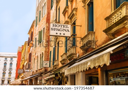 VENICE, ITALY - MAY 06, 2014: Facade of the hotel Spagna in Venice, Italy