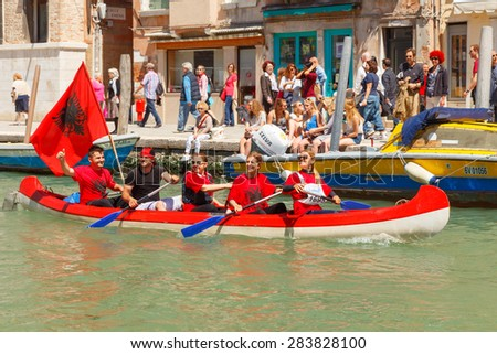 Venice, Italy - May 24, 2015: Racing rowing in the Venetian lagoon. The annual Vogalonga Regatta. In the race was attended by about 1,500 boats from around the world.