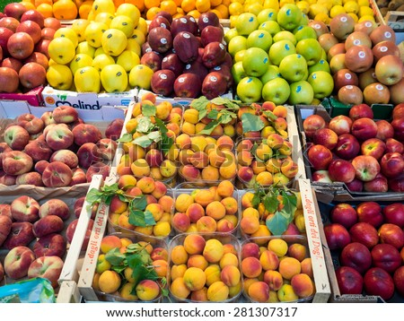 Venice, Italy - 22 May 2015: Rialto Market - fruit on sale at market
