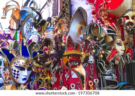VENICE, ITALY - MAY 06, 2014: Souvenirs and carnival masks on street trading in Venice, Italy
