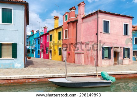Venice, Italy - May 21, 2015: The island in the lagoon near Venice. Famous tourist attraction. Famous for its colorful houses and lace.
