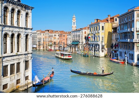 VENICE, ITALY, November 15, 2012: A beautiful view of a Grand Canal in Venice, Italy - stock photo