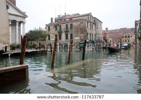 VENICE, ITALY - NOVEMBER 01: Venice flooded from the  high water of the 2012 season in November 01, 2012 in Venice, Italy
