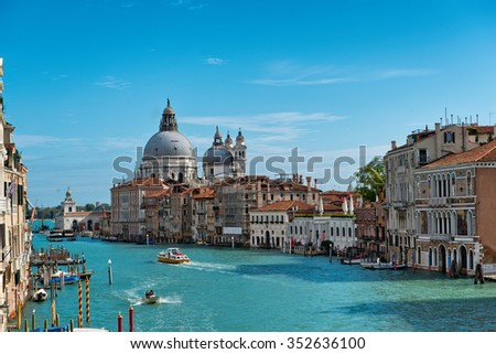 VENICE, ITALY - 17 OCTOBER 2015: Grand Canal and Basilica Santa Maria della Salute in Venice, Italy, as seen from the Ponte dell'accademia bridge.