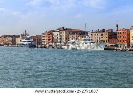 VENICE, ITALY - on APRIL 30, 2015. The Panorama townscape from the Venetian lagoon. Architectural complex of one of embankments
