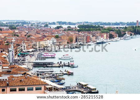 VENICE, ITALY - on APRIL 30, 2015. The top view from San Marco kampanilla the coast of the Venetian lagoon