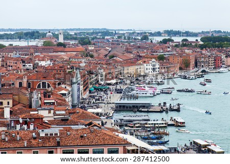 VENICE, ITALY - on APRIL 30, 2015. The top view from San Marco kampanilla to  embankment