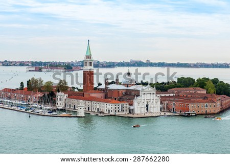 VENICE, ITALY - on APRIL 30, 2015. Top view of San Giorgio's island and cathedral. Venetian lagoon