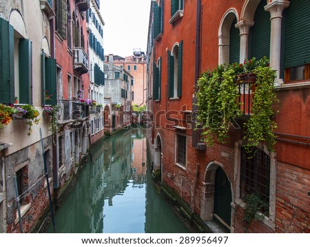VENICE, ITALY - on MAY 1, 2015. The street canal, boats and old authentic buildings