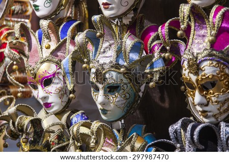 VENICE, ITALY - on MAY 3, 2015. Typical Venetian carnival masks on a show-window of gift shop