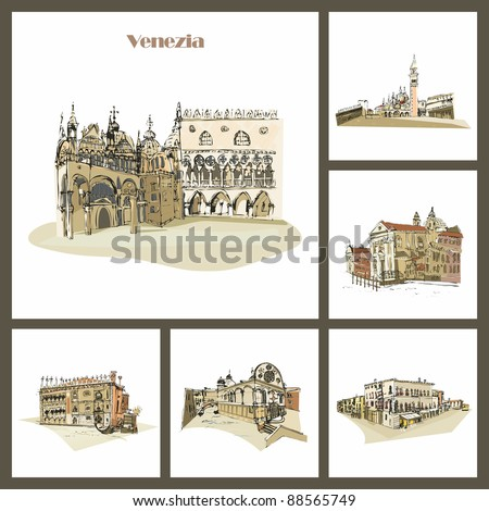 Venice, Italy Piazza San Marco with Campanile, Basilica San Marco and Doge Palace. Venezia. - stock photo