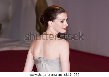 VENICE, ITALY - SEPTEMBER 03: Actress Anne Hathaway attends the 'Rachel Getting Married' film premiere at the Sala Grande during the 65th Venice Film Festival on September 3, 2008 in Venice, Italy - stock photo