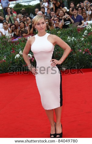 VENICE, ITALY - SEPTEMBER 02: Actress Kate Winslet attends 'Mildred Pierce' Premiere at Palazzo del Cinema on September 2, 2011 in Venice, Italy. - stock photo