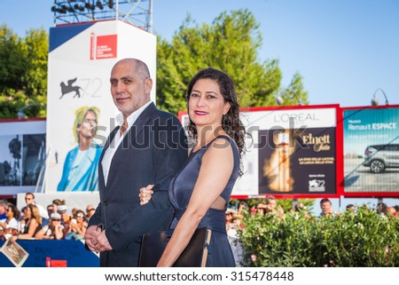 Venice, Italy - 10 September 2015: Director Guillermo Arriaga and Eugenia Arriaga attend a premiere for 'From Afar' during the 72nd Venice Film Festival at Sala Grande
