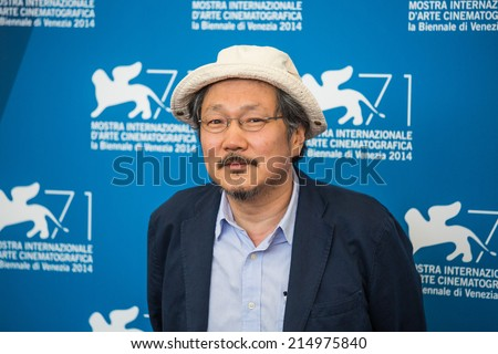 VENICE, ITALY - SEPTEMBER 02: Director Hong Sangsoo attends the 'Hill Of Freedom' (Jayueui Onduk) photocall during the 71st Venice Film Festival on September 2, 2014 in Venice, Italy.