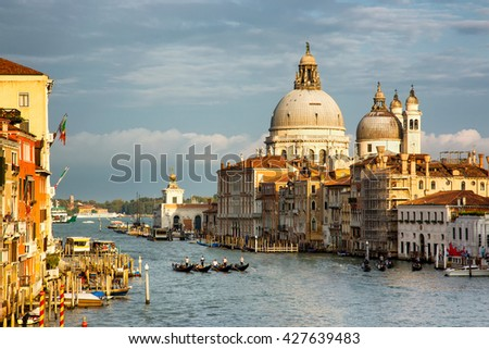 VENICE, ITALY - SEPTEMBER 25, 2015: Gorgeous view of the Grand Canal and Basilica Santa Maria della Salute, Venice, Italy