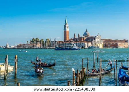 VENICE,ITALY - SEPTEMBER 23,2014 - Island San Giorgio Maggiore. It is now the headquarters of the Cini Foundation arts centre, known for its library and is also home to the Teatro Verde .