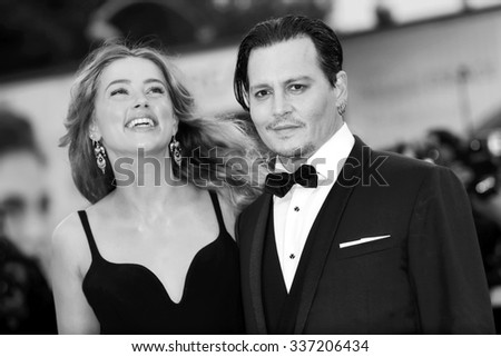 VENICE, ITALY - SEPTEMBER 4: Johnny Depp and Amber Heard attend 'Black Mass' premiere during the 72nd Venice Film Festival on September 4, 2015 in Venice, Italy.