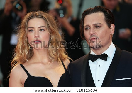 VENICE, ITALY - SEPTEMBER 04: Johnny Depp and Amber Heard during the 72th Venice Film Festival 2015 in Venice, Italy