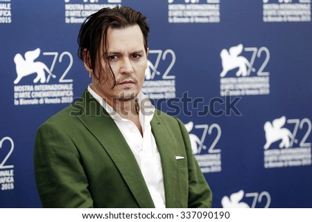 VENICE, ITALY - SEPTEMBER 4: Johnny Depp poses during the photo-call of 'Black Mass' during the 72nd Venice Film Festival on September 4, 2015 at Venice. - stock photo