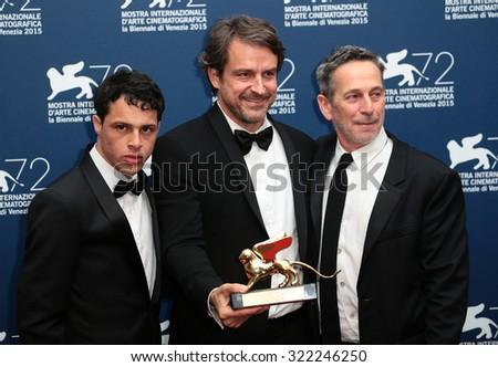 VENICE, ITALY - SEPTEMBER 12: Luis Silva, director Lorenzo Vigas and Alfredo Castro  during the 72th Venice Film Festival 2015 in Venice, Italy - stock photo
