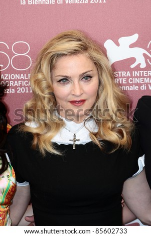 VENICE, ITALY - SEPTEMBER 01: Madonna during the photocall of 'W.E.' during the 68th Venice Film Festival on September 01, 2011 in Venice, Italy. - stock photo