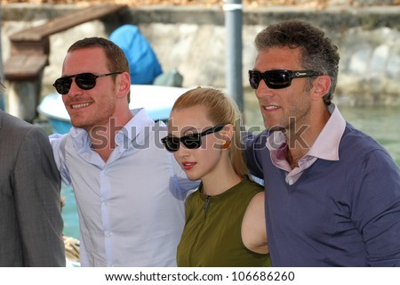 VENICE, ITALY - SEPTEMBER 02: Michael Fassbender, Sarah Gadon and Vincent Cassel  during the 68th Venice Film Festival on September 02, 2011 in Venice, Italy. - stock photo