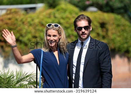 VENICE, ITALY - SEPTEMBER 07: Michelle Hunziker and Tomaso Trussardi during the 72th Venice Film Festival 2015 in Venice, Italy - stock photo