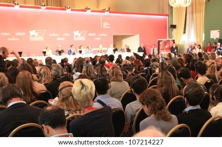 VENICE, ITALY - SEPTEMBER 04: People at press conference during 67th Venice Film Festival September 04, 2010 in Venice, Italy.