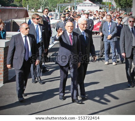 VENICE, ITALY - SEPTEMBER 06: President of Italian Republic Giorgio Napolitano arrives at the hotel Excelsior for the Venice Film Festival on September 06, 2012 in Venice, Italy