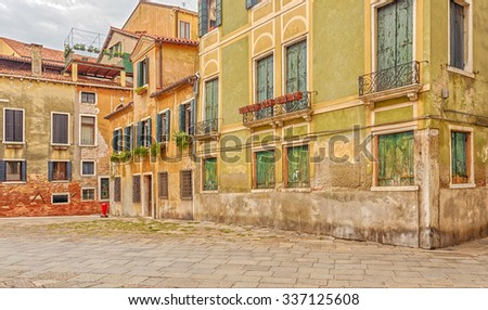 Venice, Italy - September 5, 2014: The architecture of the houses in Venice. Italy.