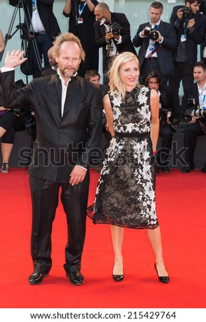 VENICE, ITALY - SEPTEMBER 06: Venezia 71 Jury Members Philip Groning (L-R) and Jessica Hausner attends the Closing Ceremony of the 71st Venice Film Festival on September 6, 2014 in Venice, Italy