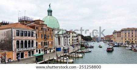 VENICE, ITALY - SEPTEMBER 4, 2014: View of the Grand Canal from the Bridge of the Scalzi towards the Church of San Simeone Piccolo - stock photo