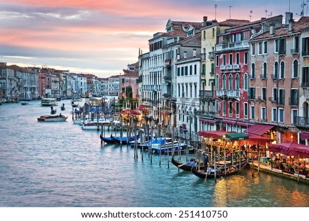 Venice Italy, sunset on the Grand Canal from the rialto bridge  - stock photo