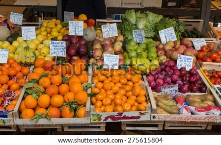 VENICE, ITALY - 14TH MARCH 2015: Fresh fruit and vegetables at a market stall in Venice.
