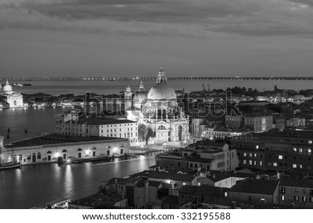 VENICE, ITALY - 25th of August 2014: View over the Venice from the tower on San Marco square on 25th of August 2014 in VENICE, ITALY (black and white) - stock photo