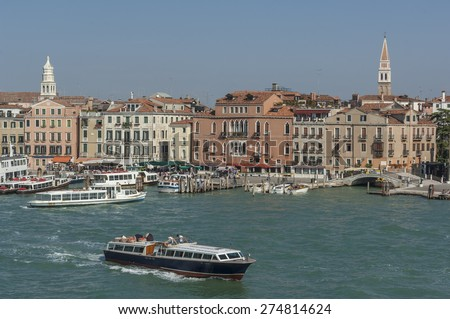VENICE/ITALY 27TH SEPTEMBER 2006 Water taxis and buses in front of San Marco Square - stock photo