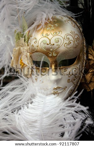 Venice Italy Venetian carnival mask on display