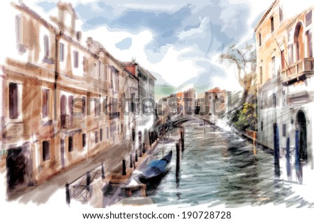 Venice, Italy - watercolor style - stock photo