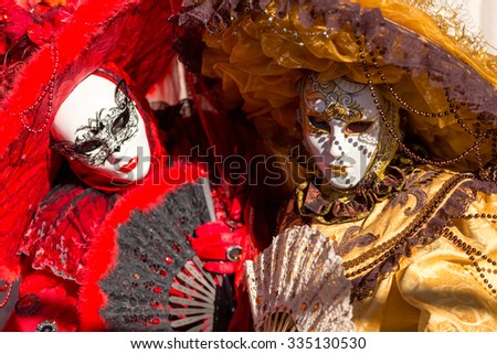 VENICE - January 14 : An unidentified person in a carnival costume attends the end Carnival of Venice , January 14, 2015 in Venice , Italy . - stock photo