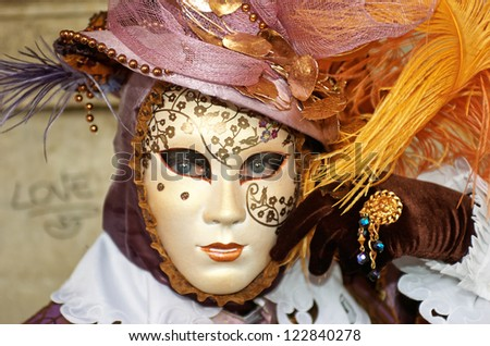 VENICE - JANUARY 30: Person in Venetian costume attends the Carnival of Venice, festival starting two weeks before Ash Wednesday on January 30, 2008 in Venice, Italy.
